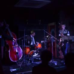 Calum, David and Helena at the Hug and Pint, Glasgow Jazz Festival 2016